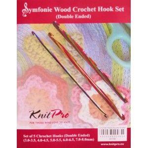 Double Pointed Crochet Hooks Set Symfonie Wood